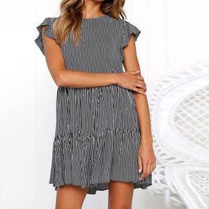 Dresses & Skirts - Striped Ruffle Sleeve Dress